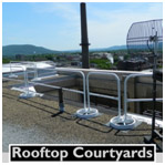 ROOFTOP COURTYARD GUARDING WITH SRC 360 MOBILE SAFETY RAILING
