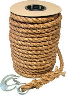 "3/4"" x 60' Manila Rope W/ Snap Hook"