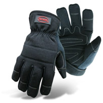 BOSS LINED BLACK PADDED KNUCKLE AND PALM UTILITY GLOVE-5207
