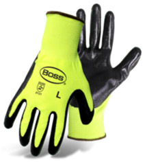 HIGH-VIS POLYESTER SHELL BLACK SMOOTH NITRILE PALM DIP